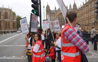 Outside Parliament