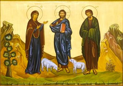 Jesus the Good Shepherd with Mary and Joseph